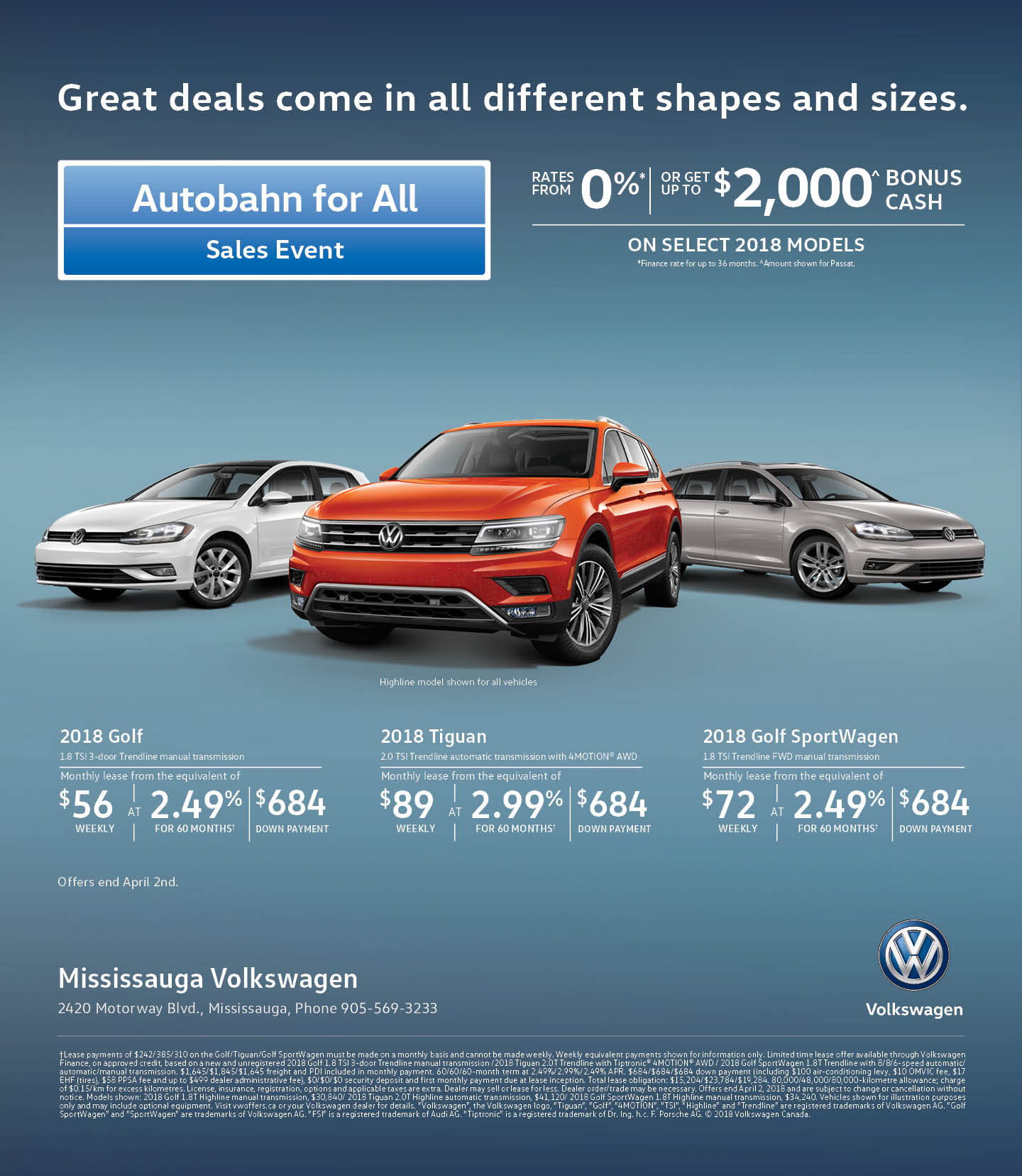 VW Canada Incentives at Mississauga Volkswagen in Toronto, the GTA, and all of Ontario.